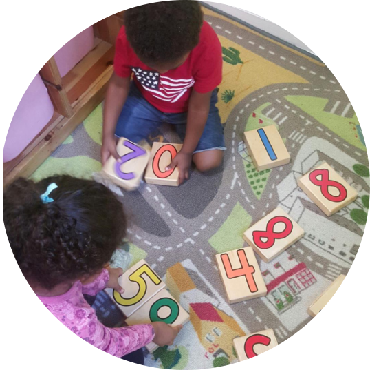 kids playing numbers